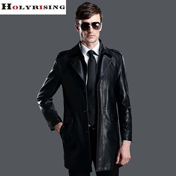 Winter Men Leather Long Jackets Business Casual Turn-Collar Thick Outwear Jackets and Coats Hombre