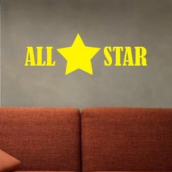 All Star Decal Sticker Wall Kids Sports Room Boy Girl Nursery Teen Child Kid