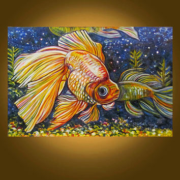 Art Painting Original Painting Etsy -- Beautiful Goldfish -- 20 x 30 inch painting by Elizabeth Graf -- READY to HANG