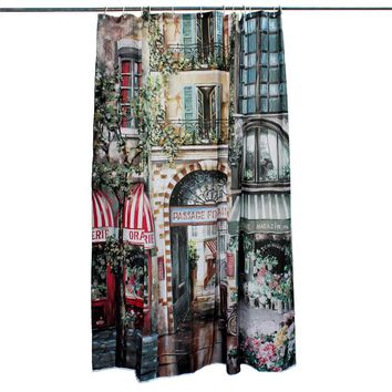 The Best Price Bathroom Product 180x200cm European Vintage Polyester Bathroom French Street Heavy Duty Shower Curtains