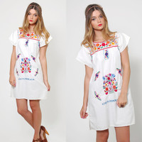 Vintage MEXICAN Dress White EMBROIDERED Ethnic Hippie Dress Boho Festival Dress Tent Dress Mini Dress