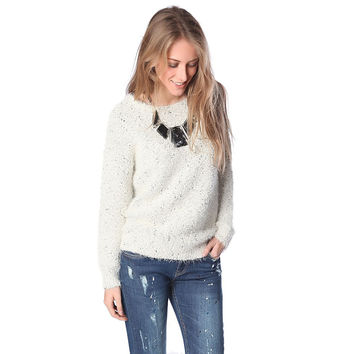 Beige speckled sweater in soft touch fabric