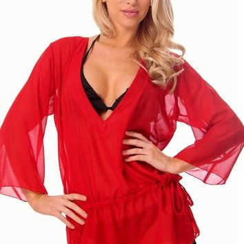 Sheer Red Tunic Pullover Beach Cover Up