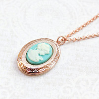 Rose Gold Locket Necklace Oval Locket Pendant Pink Gold Jewelry Turquoise Aqua Lady Cameo Necklace Bridesmaids Gift Romantic Photo Locket