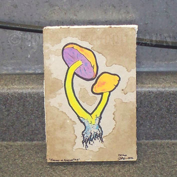 Blacklight Reactive Organic Double Mushroom Hippie Wall Art - Nature or Nurture 4 by The Good Cap'n - 2012