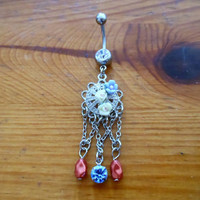 Vintage style belly button ring by ChelseaJewels on Etsy