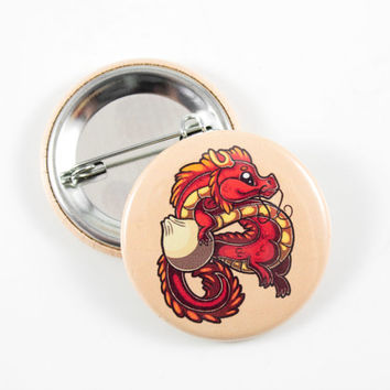 Chinese Dragon and Dumpling, Pin, Badge, Button, Pinback Button, Cute Animal Art