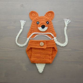 Crochet Fox Costume, Crochet Fox Set, Diaper Cover Set, Crochet Baby Hat, Newborn Photography Prop, Photo Prop, Baby Fox Costume, Animal Hat