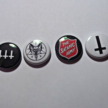 Satanic symbols Buttons // satanic army button // baphomet button // inverted cross button