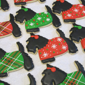 Christmas Scottish Terrier Scottie Dog Large Sugar Cookies - Holiday Party Favors, Gift for Dog Lover, Christmas Sweaters, Birthday Party
