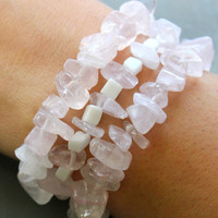 Rose & Snow Quartz Healing Energy Bracelet Stack