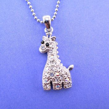 Adorable Baby Giraffe Shaped Rhinestone Charm Necklace in Silver | DOTOLY