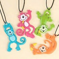 Fun Express Neon Monkey Necklace Party Favors - 12 Piece Pack...
