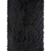 Black Tibetan Lamb Faux Fur Area Rug by Fabulous Furs
