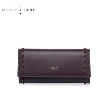 JESSIE&JANE New Simple Rivet Long Women Wallets Fashion Women Split Leather Standard Wallet Ladies Purses carteira 5461