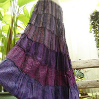 Woven Dyed Cotton Long Tiered Skirt PP0503 by fantasyclothes