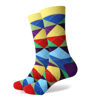 Colorful ARGYLE SOCK fun men's Cotton Socks Wedding Gift Socks