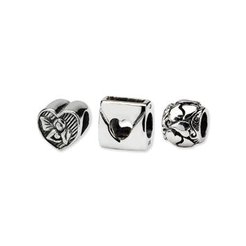 Sterling Silver Love Bead Charm Set of 3