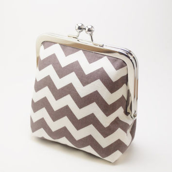 Handmade Chevron Coin Purse, Smokey Grey, Teal and White Fabric Wallet, Change Purse