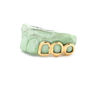 Custom 3 Piece Grillz 10k Gold 14k Gold Plated Sterling Silver Slugz Grill Open Face Caps