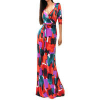 Sexy Women Package Hip Maxi Dress Fashion Long Printed Dress Women Party Dresses Party Dress Uneven Sleeve