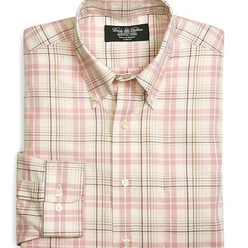 Country Club Slim Fit Non-Iron Cotton and Cashmere Multi Check Sport Shirt - Brooks Brothers