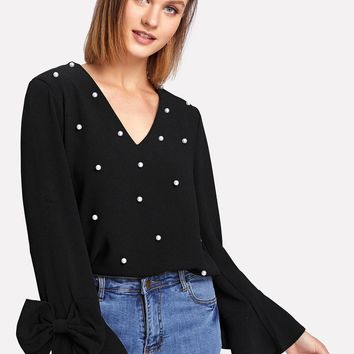 Bow Embellished Bell Sleeve Pearl Beaded Top