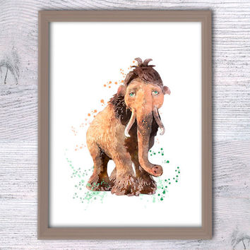 Ice Age print, Peaches Mammoth, Baby Mammoth, Kids room, Watercolor Art Disney, Elephant kids room, Ice Age, Children room, Cute Mammoth V95