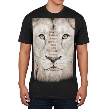 Lion Bob Marley Strength Quote Black Adult Soft T-Shirt