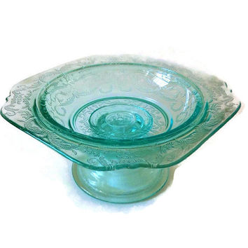 Vintage Madrid Recollection Glass, Pedestal Candy Butter Dish, Pale Aqua, Federal Glass, Home Decor