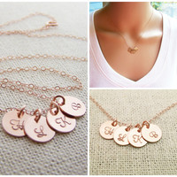 ROSE Gold initial necklace - tiny initial disc necklace - mothers necklace - grandma necklace - hand stamped initials - rose gold jewelry