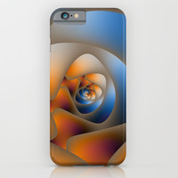 Spiral Labyrinth in Orange and Blue iPhone & iPod Case by Objowl