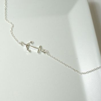 Silver Nautical Anchors Ahoy Necklace, Sideways Anchor Necklace Jewelry, Nautical Jewelry
