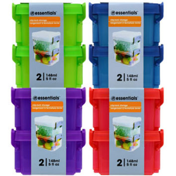 Bulk Essentials Colorful Plastic Storage Boxes with Clip-Lock Lids, 2-ct. Packs at DollarTree.com