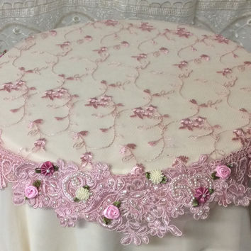 Beaded Lace Small Table Topper Pink