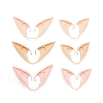 1pair Prosthetic Elf Ear Latex Fairy Pixie Elf Ears Costume Cosplay Stage Props for Home Bar party Decoration Halloween Supplies