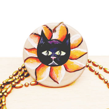 Halloween Black Cat Necklace - Hand Painted Wooden Pendant with Chain and Gift Box - Unique Animal Lover Gift