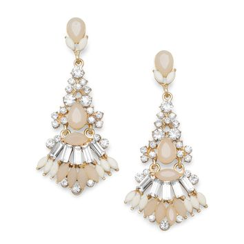 Elegant Crystal and Tan Acrylic Drop Fashion Earrings