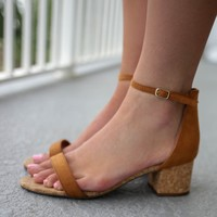 Sight Seeing Tan Open Toe Heels