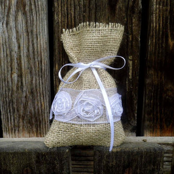 Wedding Favor Bag, Burlap and Lace, Rustic Accessorie, I Do, Gift Sachet for Guests, Reception, Unique Ideas, Romantic Bags