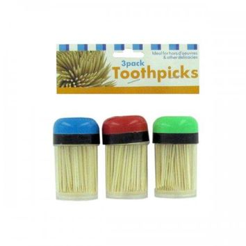 Three Toothpick Holders And Toothpicks