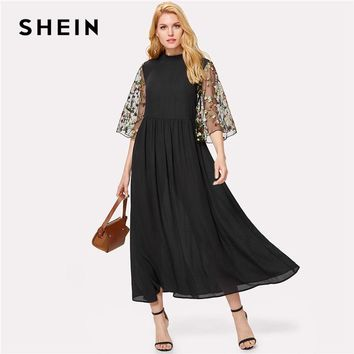 SHEIN Embroidery Mesh Flare Sleeve Dress Black Stand Collar Half Sleeve High Waist Loose Maxi Dress Women Elegant Party Dress