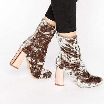 Missguided Velvet Block Heeled Sock Boots at asos.com