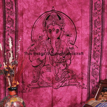 Lord of Success Ganesha Wall Hanging, Lord Ganesha Deity Art Tapestry, Indian God Ganesha Tapestry, Indian Tapestry, Twin Size Bed Sheet