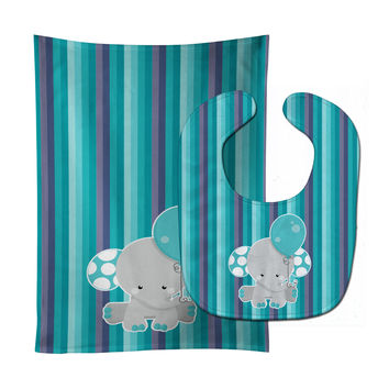 Grey Elephant with Balloon Baby Bib & Burp Cloth BB6842STBU