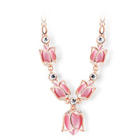 Chokers Necklaces Romantic Rose Gold Plated White Pink Beige Created Opal Rhinestone Tulips Necklace For Women Jewelry