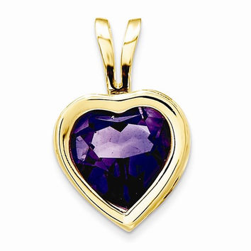 14k Yellow Gold Amethyst Bezel Heart Pendant