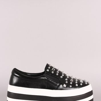Stud Embellished Striped Flatform Slip-On Sneaker
