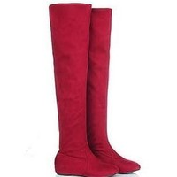 Winter Flat Boots Over Knee Thigh High Suede Long Boots