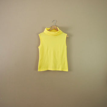 70s Vibrant Yellow Sleeveless Top - Cowl Neck Top Cowl Neck Tunic Sleeveless Tunic 70s Tank Top Turtleneck Top Yellow Shirt 70s Clothing